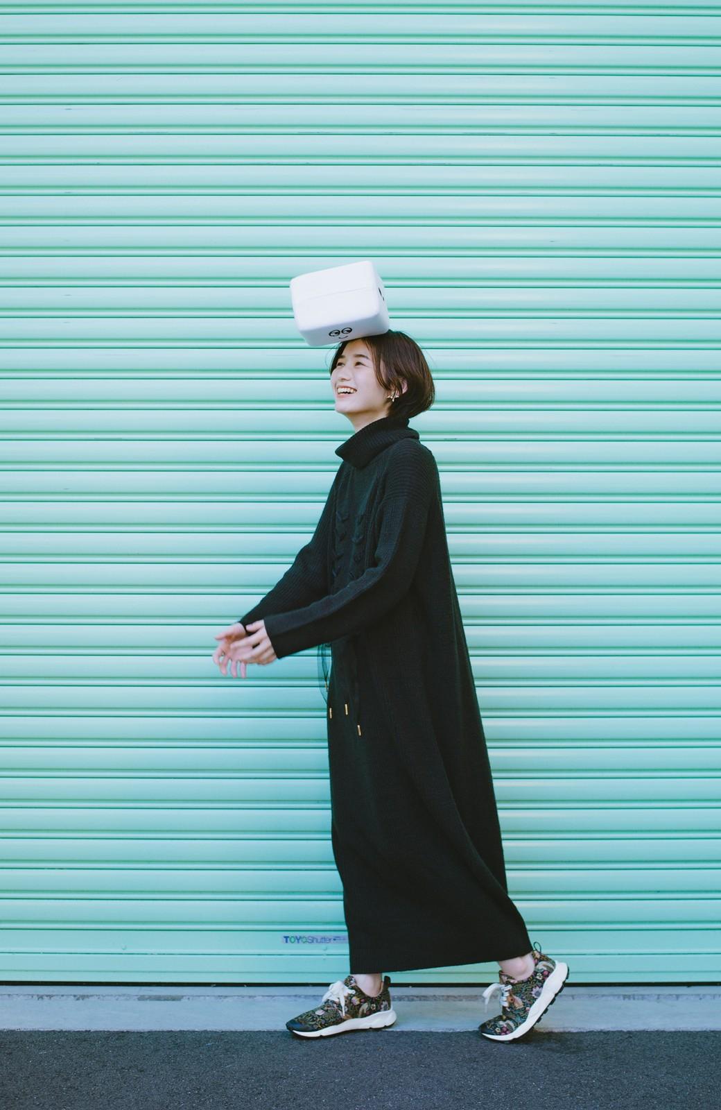 haco! haco! × RBTXCO シューレースアップがかわいい!タートルワンピ <ブラック>の商品写真11