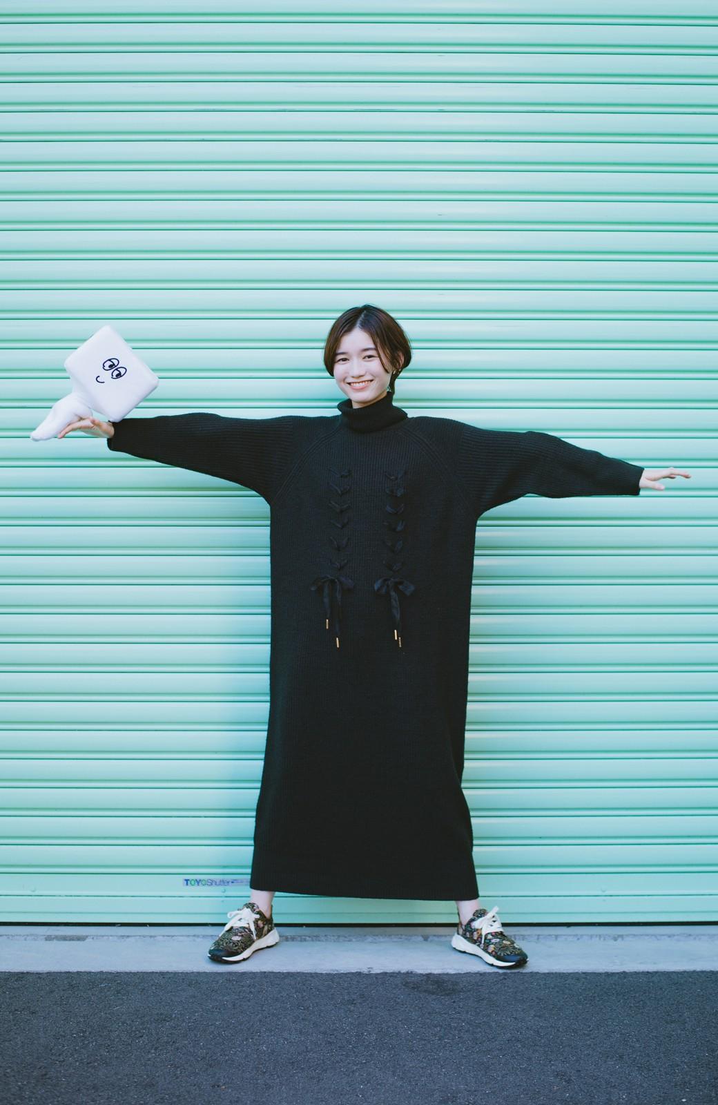 haco! haco! × RBTXCO シューレースアップがかわいい!タートルワンピ <ブラック>の商品写真12