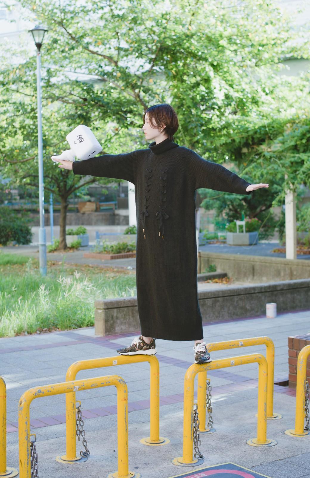 haco! haco! × RBTXCO シューレースアップがかわいい!タートルワンピ <ブラック>の商品写真13