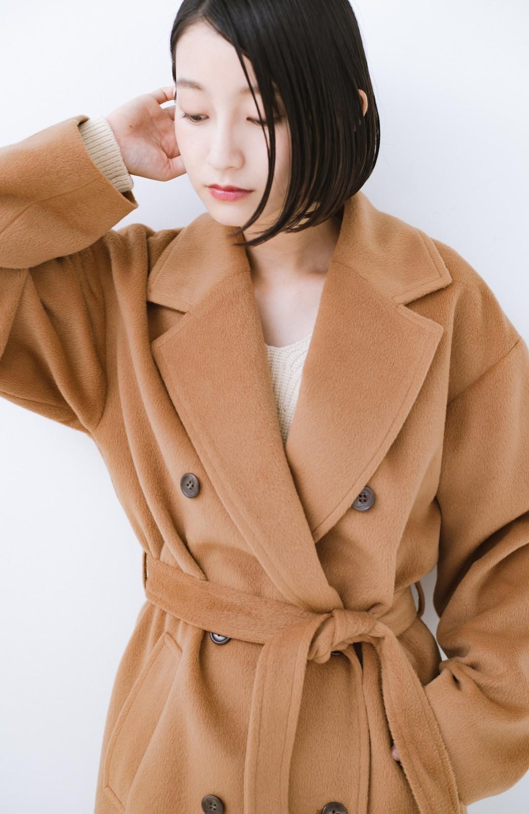 haco! 女っぽくもかっこよくも着られる ウエストベルト付きロングコート <キャメル>の商品写真3