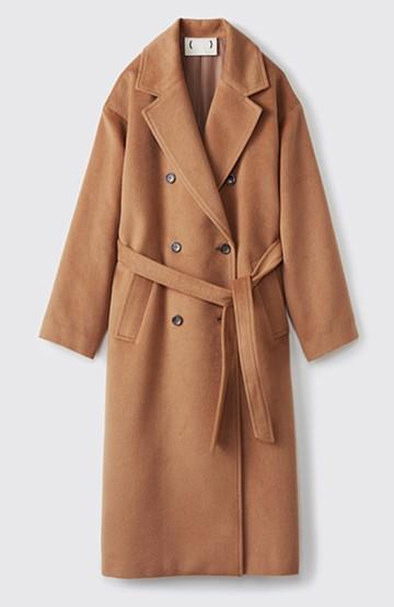 haco! 女っぽくもかっこよくも着られる ウエストベルト付きロングコート <キャメル>の商品写真