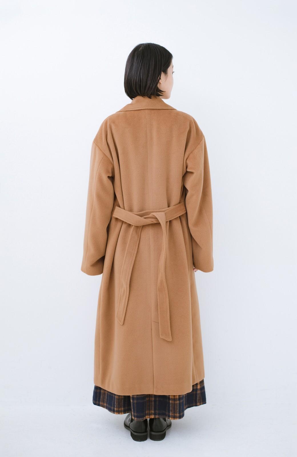 haco! 女っぽくもかっこよくも着られる ウエストベルト付きロングコート <キャメル>の商品写真11