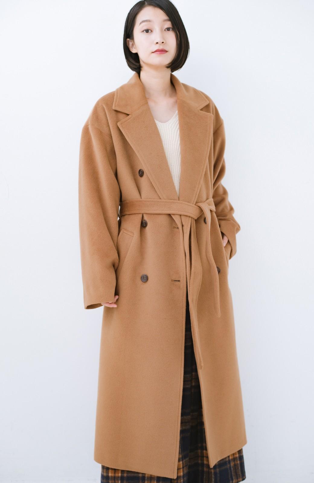 haco! 女っぽくもかっこよくも着られる ウエストベルト付きロングコート <キャメル>の商品写真12