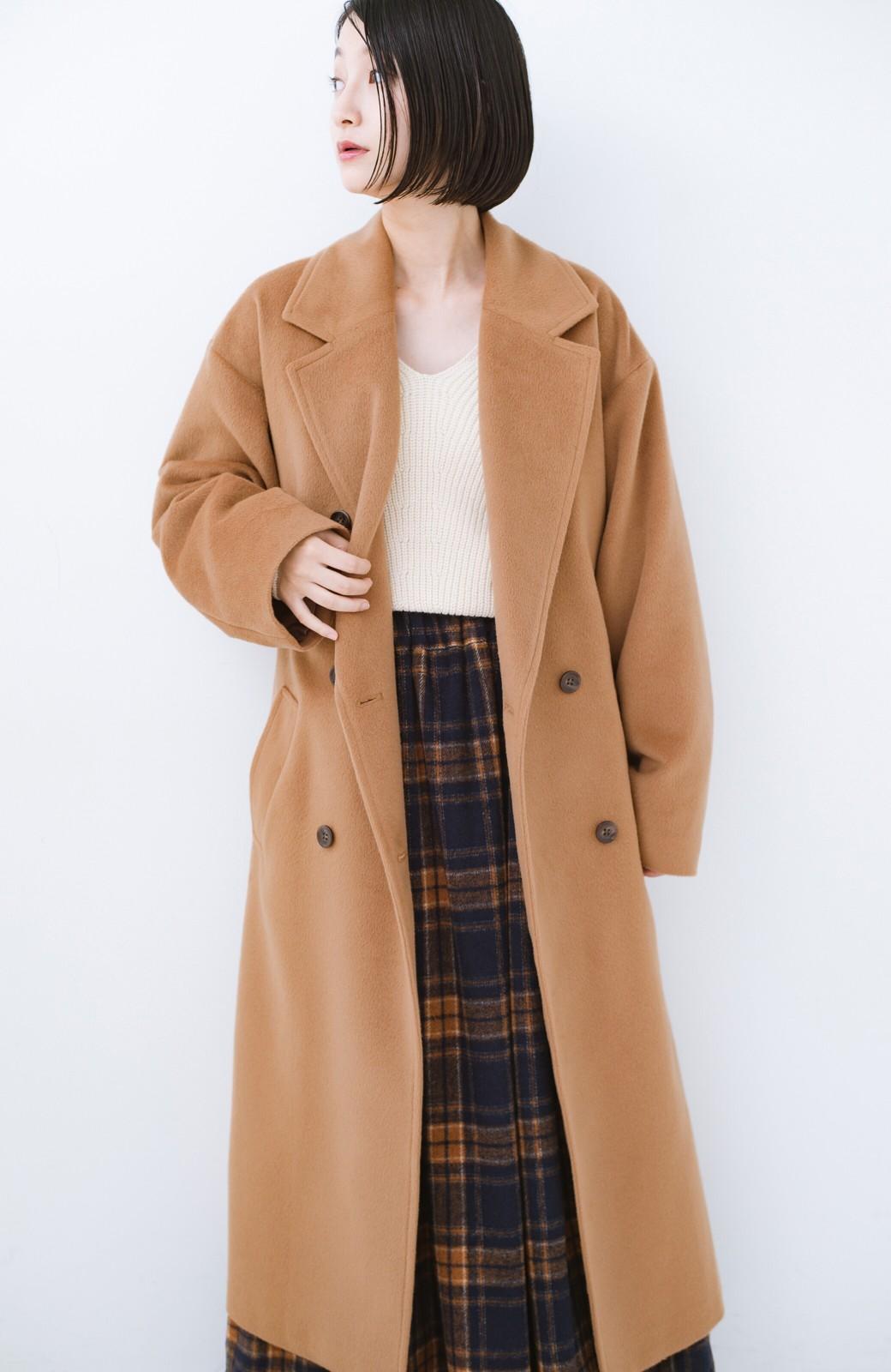 haco! 女っぽくもかっこよくも着られる ウエストベルト付きロングコート <キャメル>の商品写真13