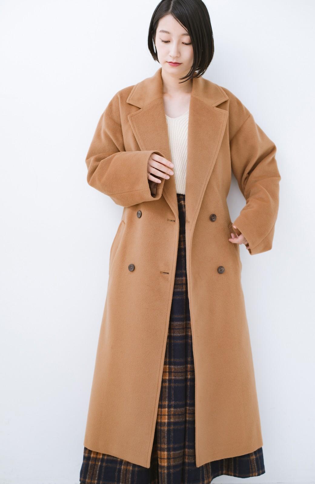 haco! 女っぽくもかっこよくも着られる ウエストベルト付きロングコート <キャメル>の商品写真14
