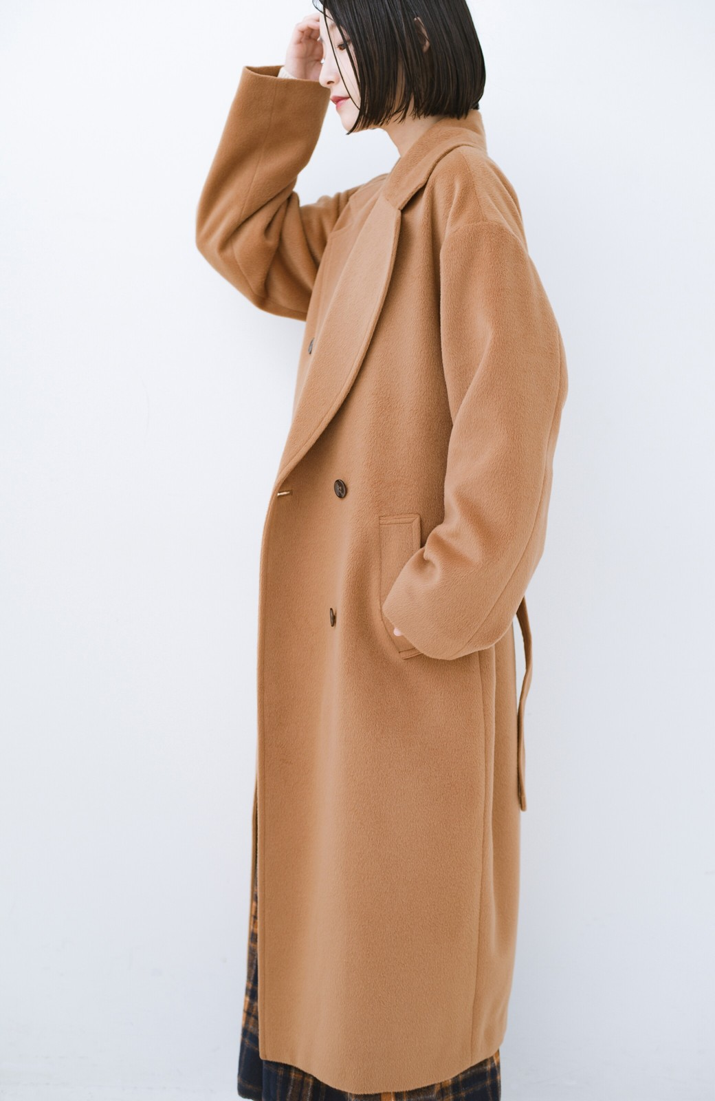 haco! 女っぽくもかっこよくも着られる ウエストベルト付きロングコート <キャメル>の商品写真15