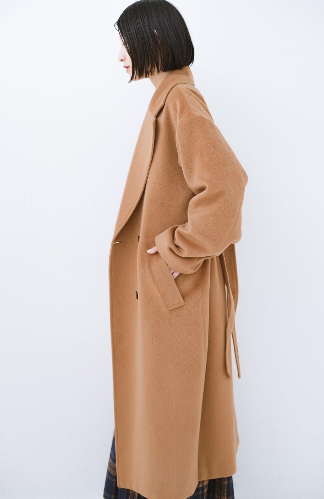 haco! 女っぽくもかっこよくも着られる ウエストベルト付きロングコート <キャメル>の商品写真16