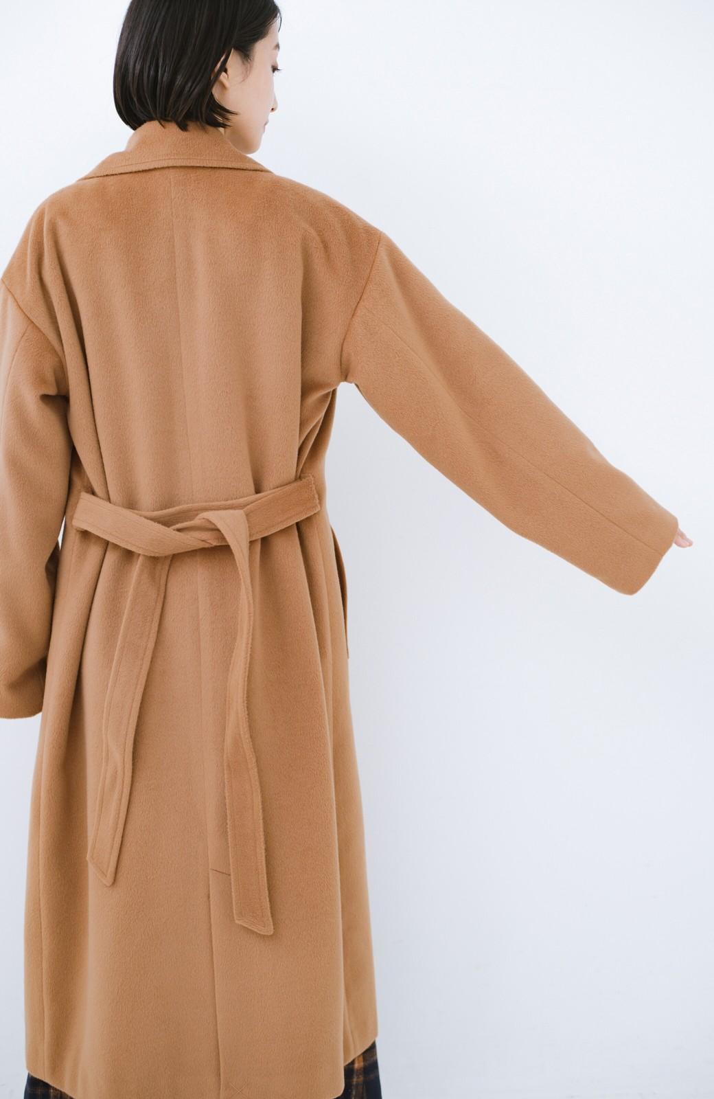 haco! 女っぽくもかっこよくも着られる ウエストベルト付きロングコート <キャメル>の商品写真17