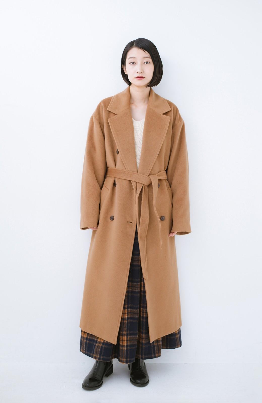 haco! 女っぽくもかっこよくも着られる ウエストベルト付きロングコート <キャメル>の商品写真4