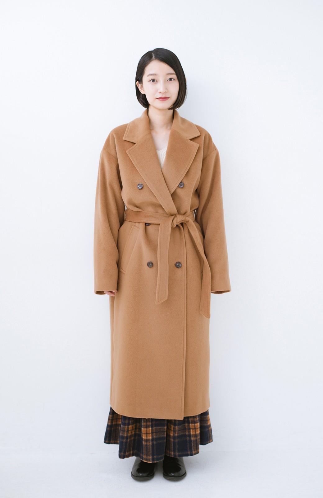haco! 女っぽくもかっこよくも着られる ウエストベルト付きロングコート <キャメル>の商品写真5