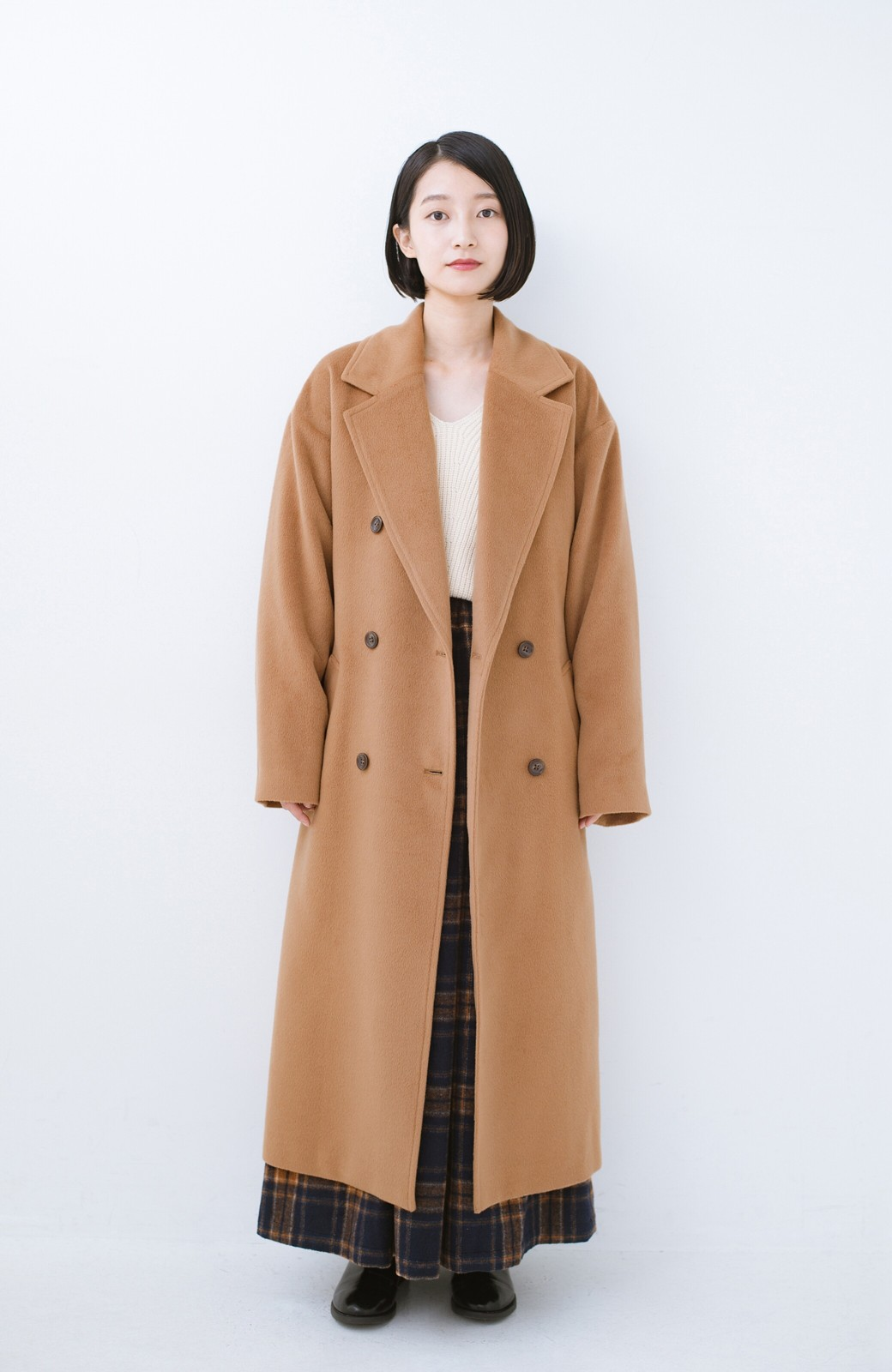 haco! 女っぽくもかっこよくも着られる ウエストベルト付きロングコート <キャメル>の商品写真6