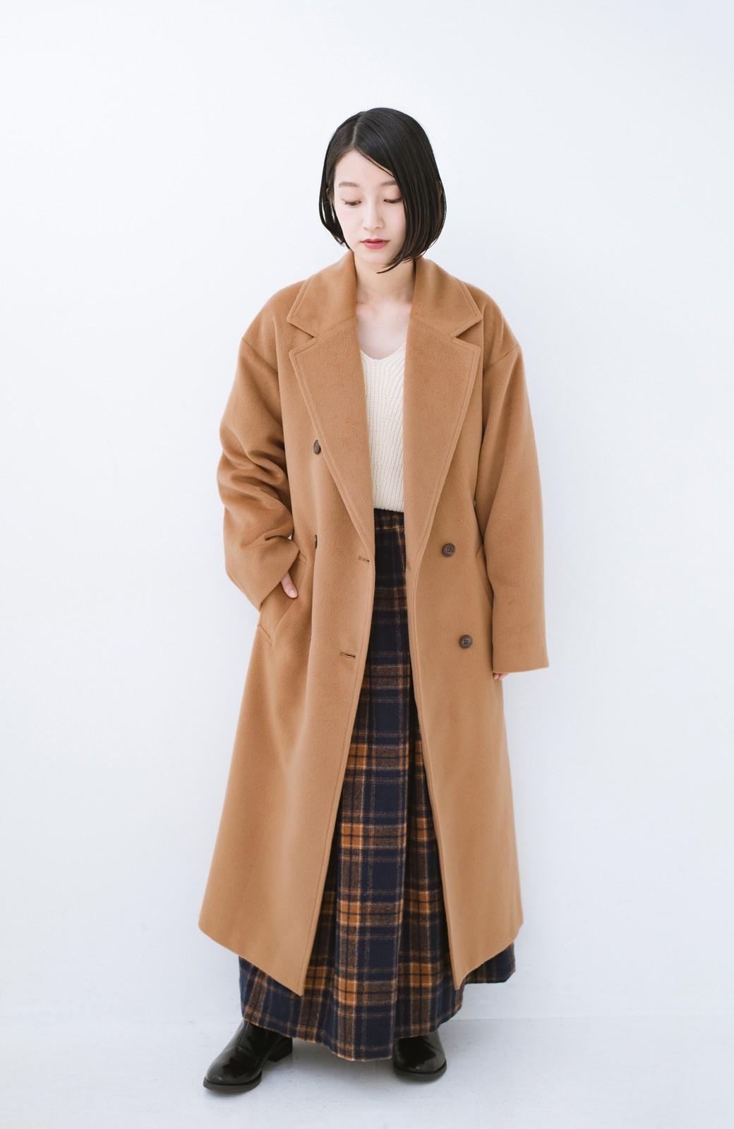 haco! 女っぽくもかっこよくも着られる ウエストベルト付きロングコート <キャメル>の商品写真7