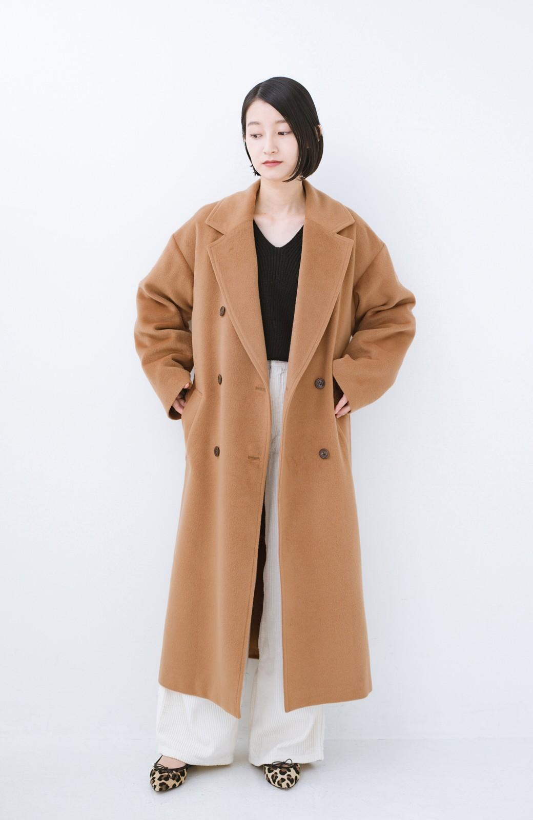 haco! 女っぽくもかっこよくも着られる ウエストベルト付きロングコート <キャメル>の商品写真8