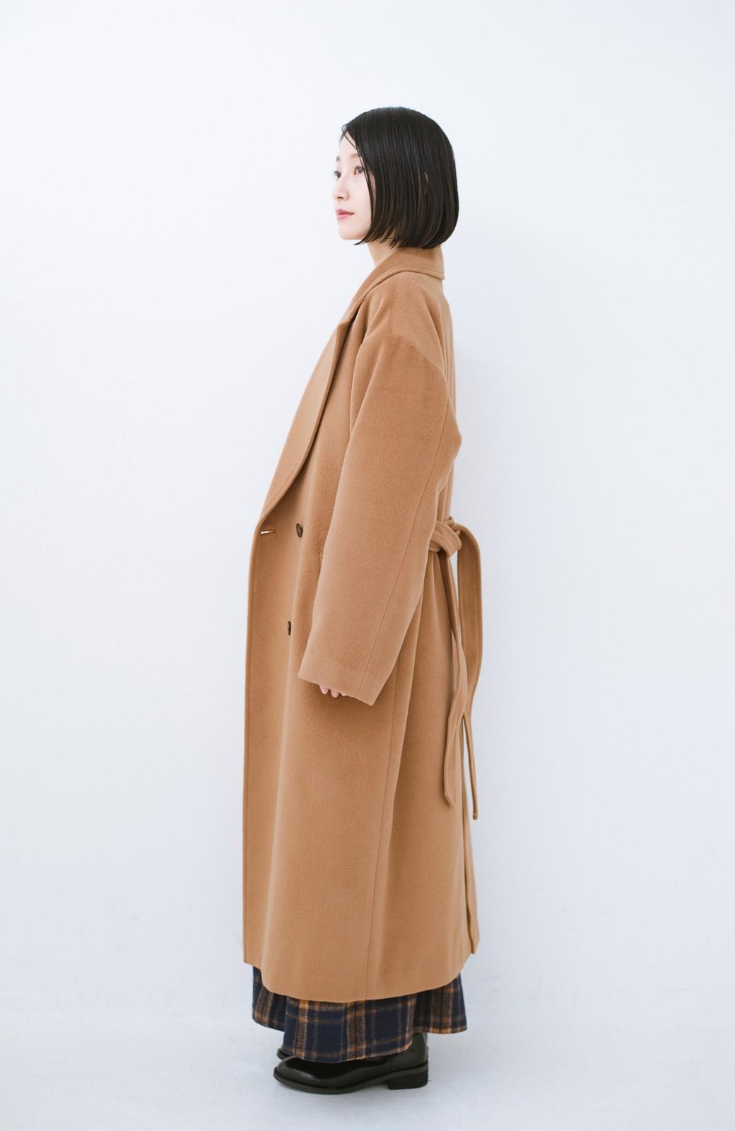 haco! 女っぽくもかっこよくも着られる ウエストベルト付きロングコート <キャメル>の商品写真9