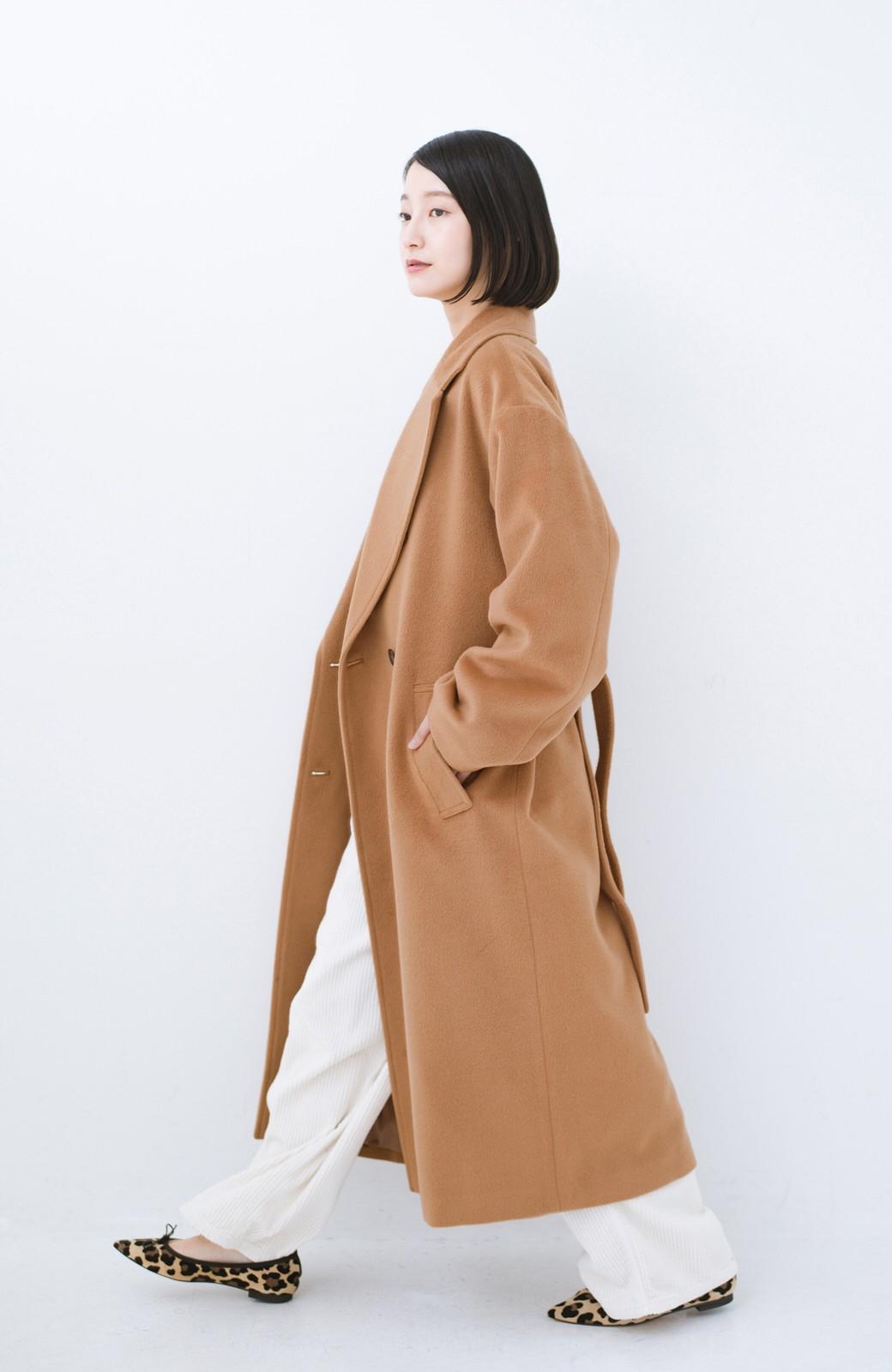 haco! 女っぽくもかっこよくも着られる ウエストベルト付きロングコート <キャメル>の商品写真10