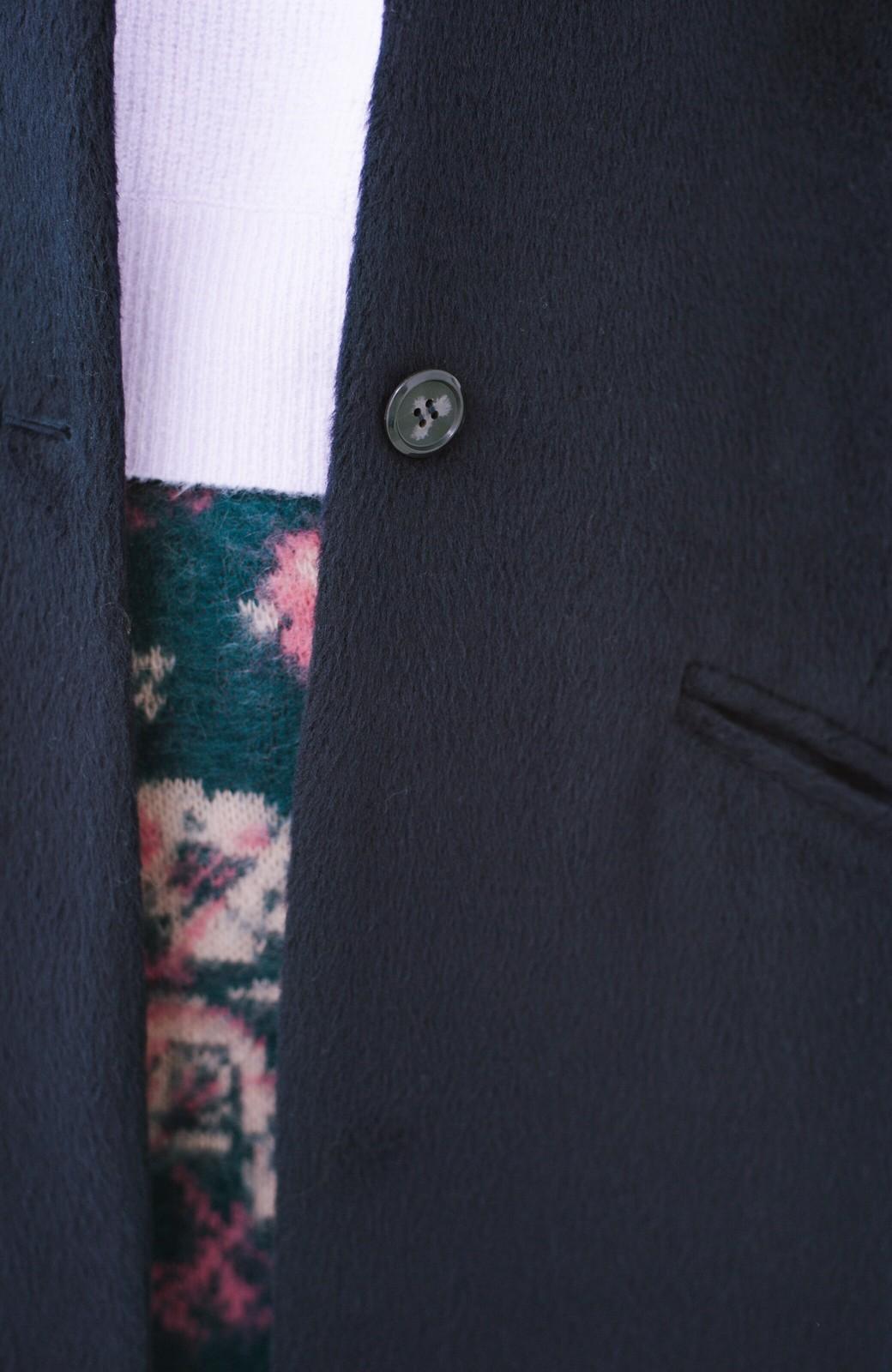 haco! 女っぽくもかっこよくも着られる ベルトつきノーカラーコート <ネイビー>の商品写真4