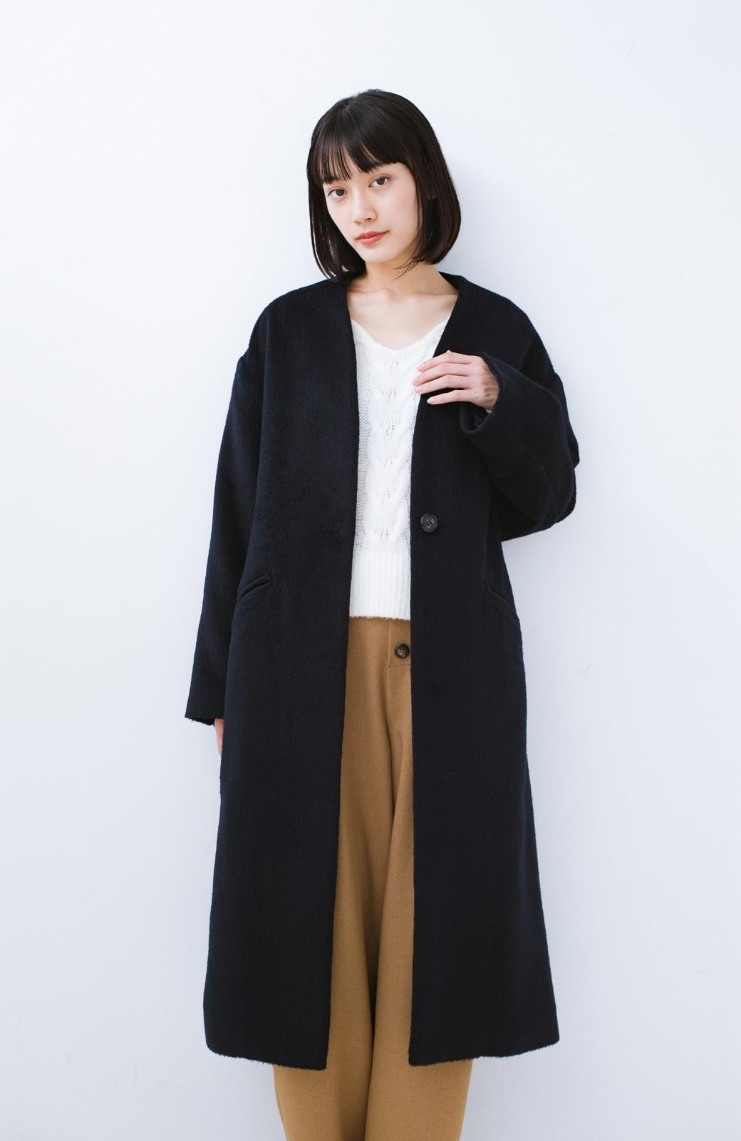 haco! 女っぽくもかっこよくも着られる ベルトつきノーカラーコート <ネイビー>の商品写真18