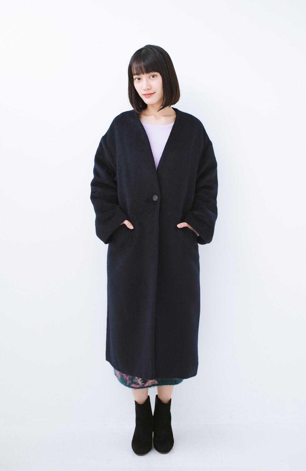 haco! 女っぽくもかっこよくも着られる ベルトつきノーカラーコート <ネイビー>の商品写真7