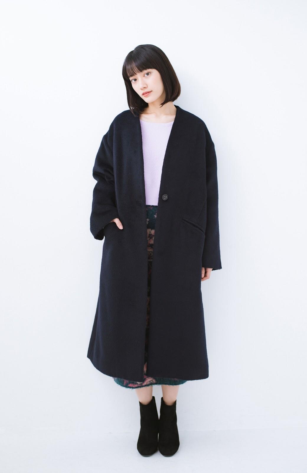 haco! 女っぽくもかっこよくも着られる ベルトつきノーカラーコート <ネイビー>の商品写真8