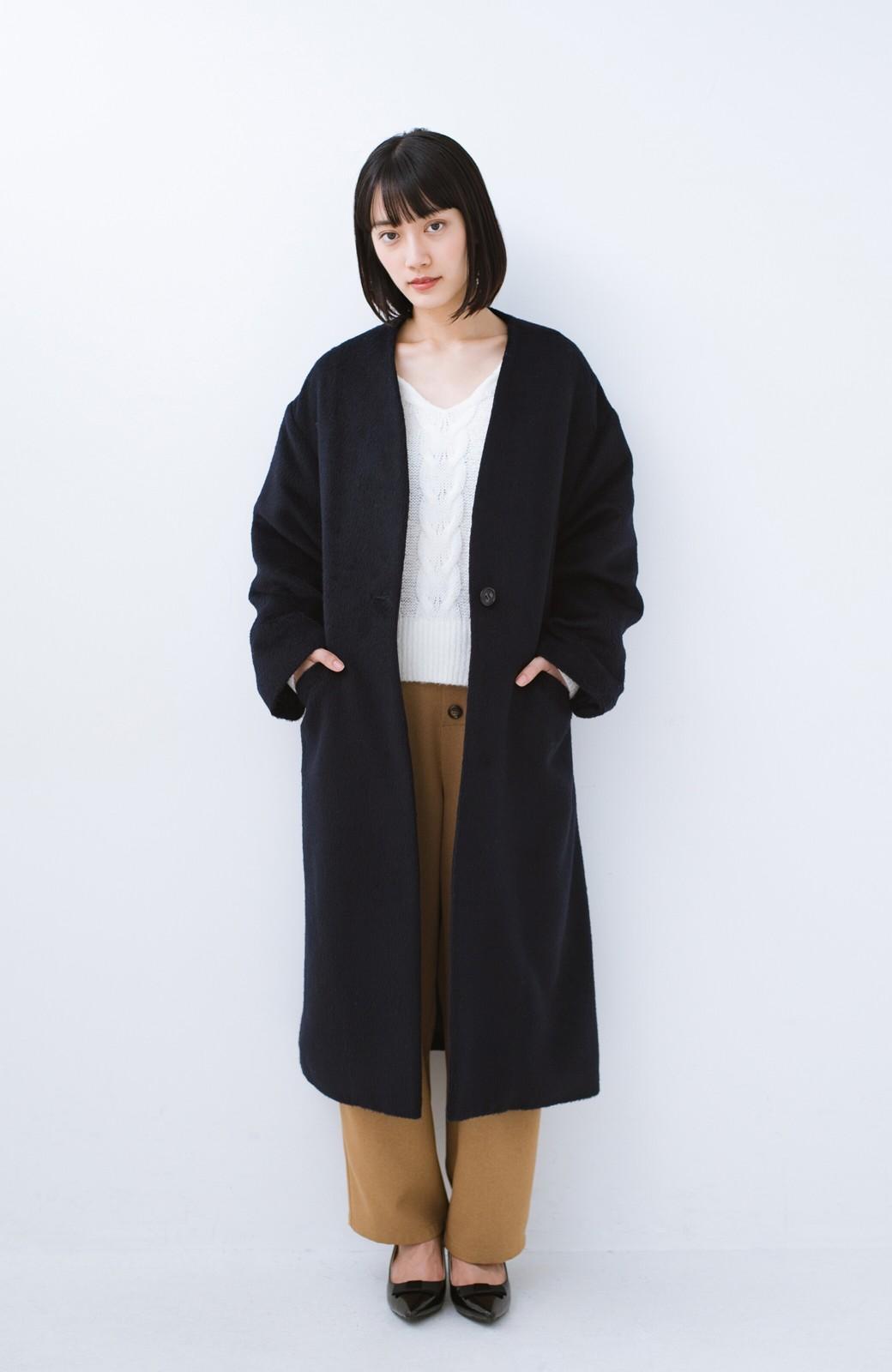 haco! 女っぽくもかっこよくも着られる ベルトつきノーカラーコート <ネイビー>の商品写真10