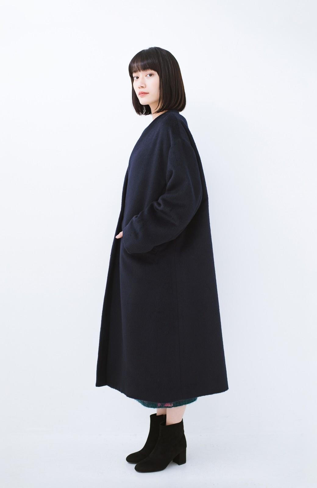 haco! 女っぽくもかっこよくも着られる ベルトつきノーカラーコート <ネイビー>の商品写真12