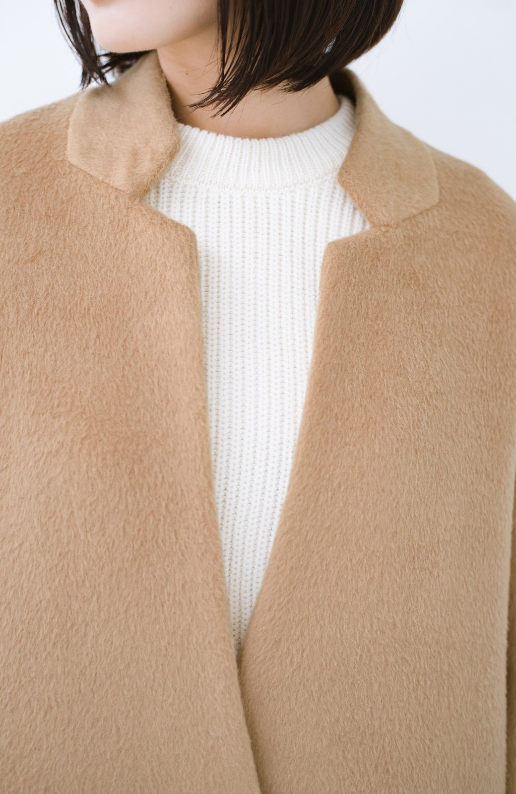 haco! パッと羽織るだけであったか&オシャレに女っぽが叶う よくばり女子のためのロングコート <ベージュ>の商品写真4