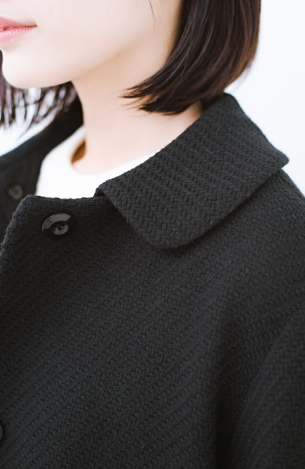 haco! 衿が取り外せて2倍使える!上品なクラシックコート <ブラック>の商品写真7