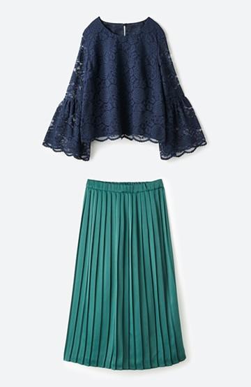 haco! 結婚式ギリギリいける!レースブラウスとプリーツスカートセット <ブルー系その他>の商品写真