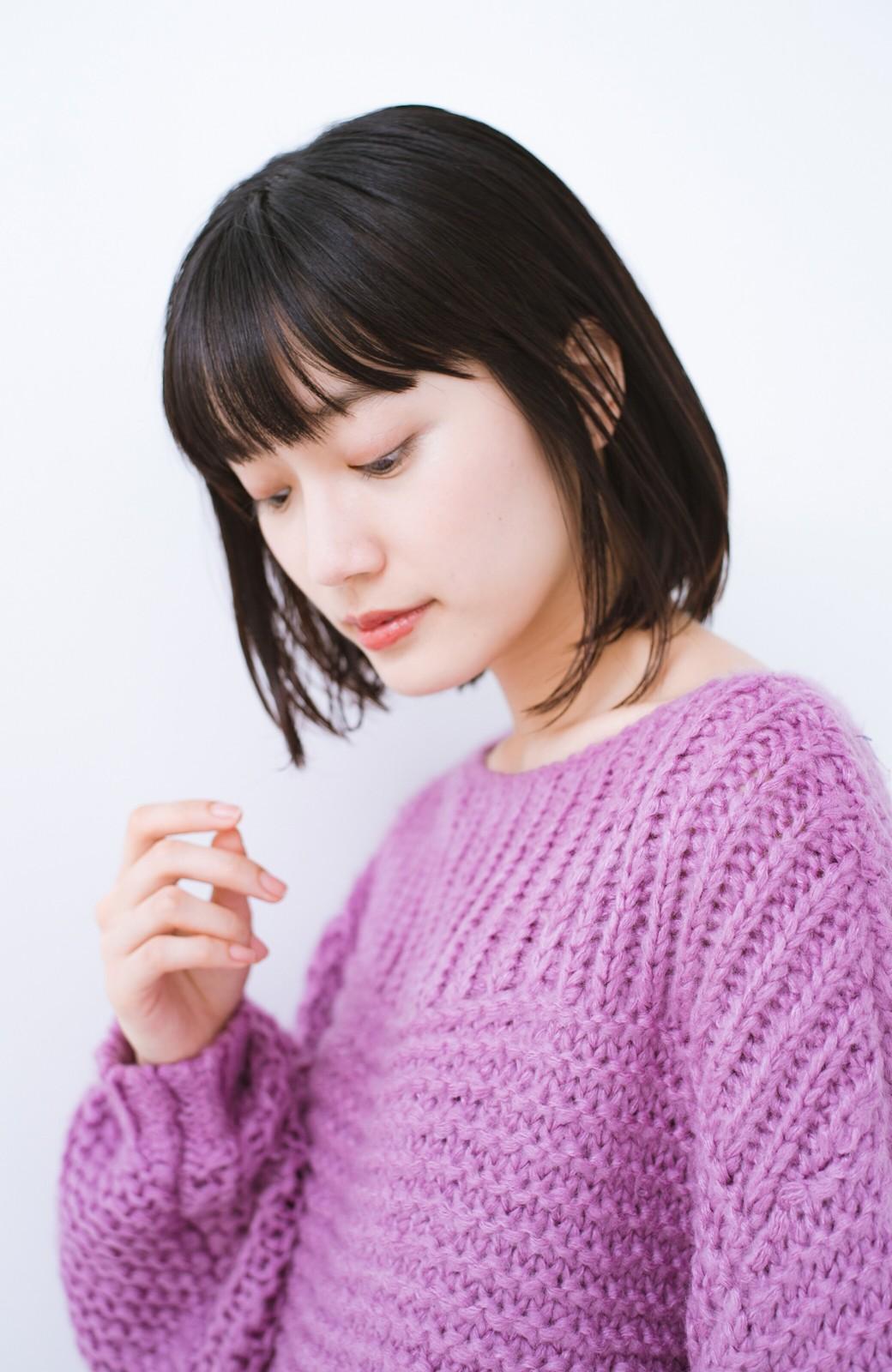 haco! 手編み風ガーター編みがかわいい ざっくり女っぽニット <ピンク>の商品写真3