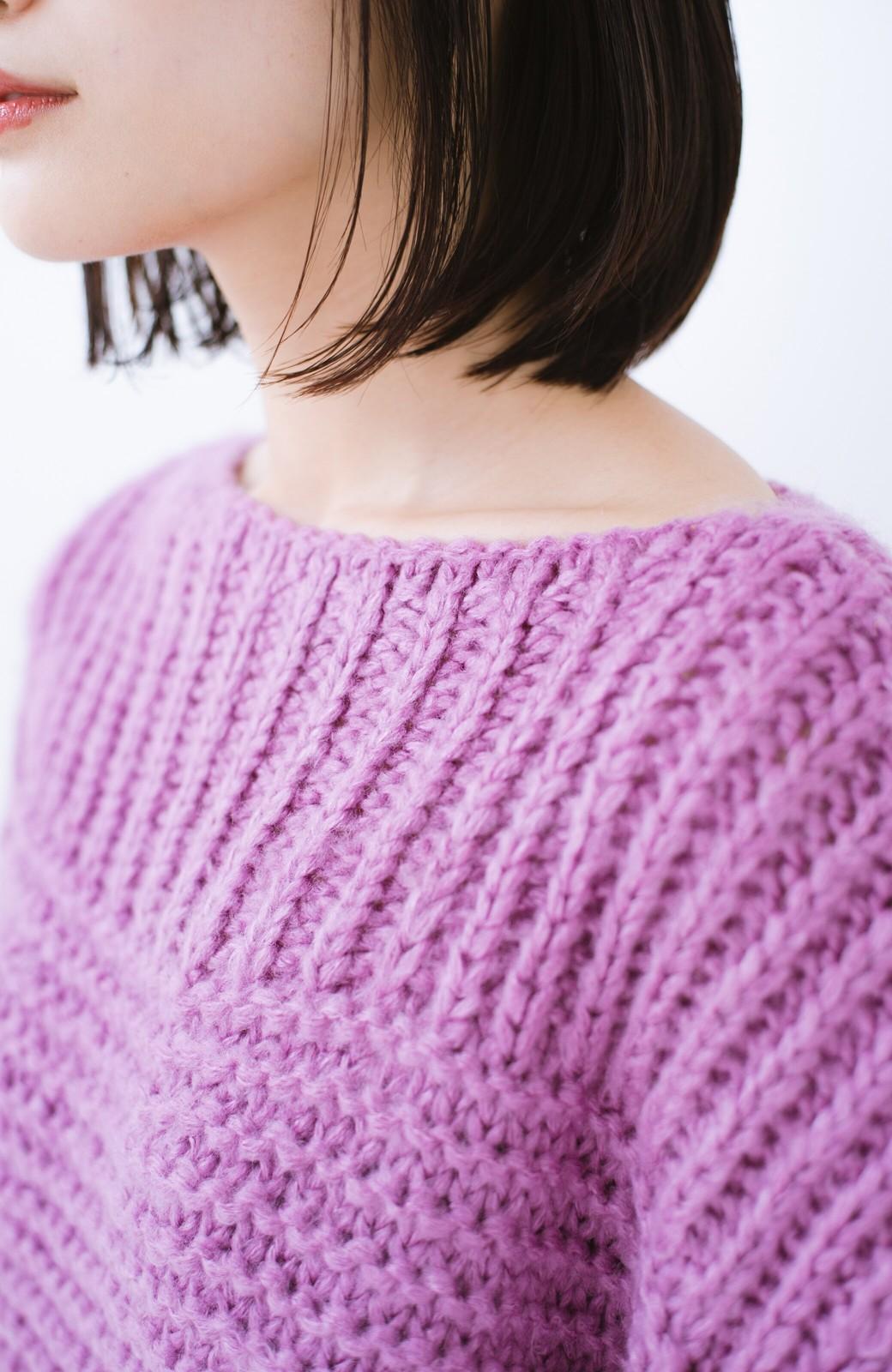 haco! 手編み風ガーター編みがかわいい ざっくり女っぽニット <ピンク>の商品写真4