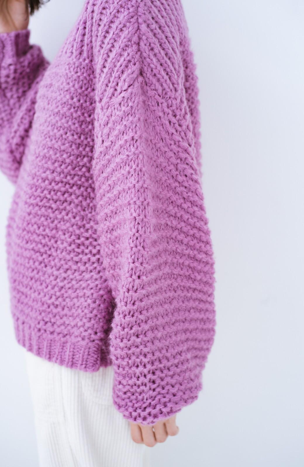 haco! 手編み風ガーター編みがかわいい ざっくり女っぽニット <ピンク>の商品写真5
