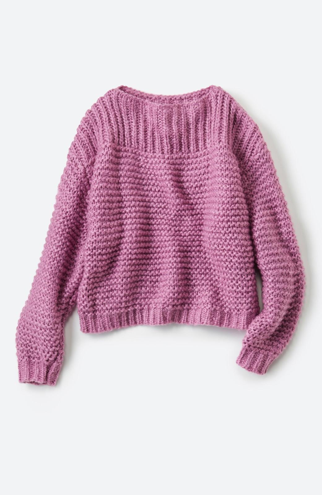 haco! 手編み風ガーター編みがかわいい ざっくり女っぽニット <ピンク>の商品写真2