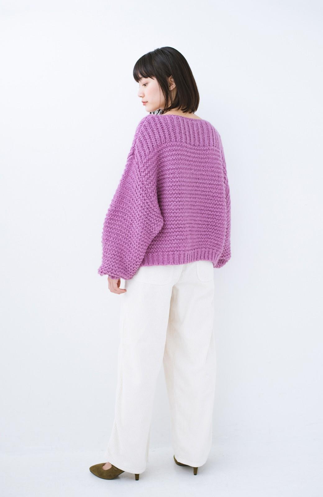 haco! 手編み風ガーター編みがかわいい ざっくり女っぽニット <ピンク>の商品写真9