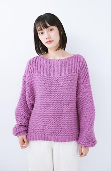 haco! 手編み風ガーター編みがかわいい ざっくり女っぽニット <ピンク>の商品写真