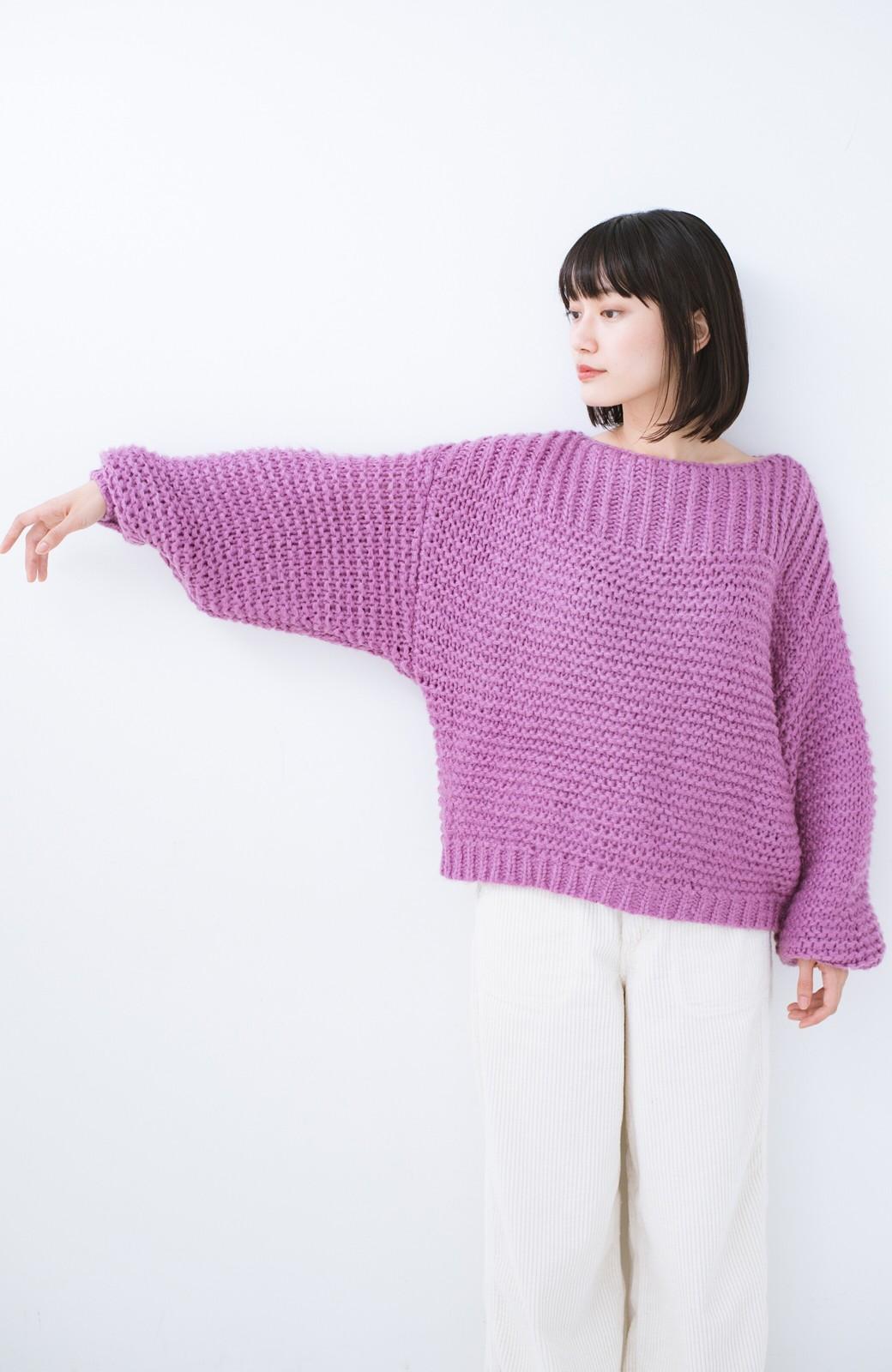 haco! 手編み風ガーター編みがかわいい ざっくり女っぽニット <ピンク>の商品写真10