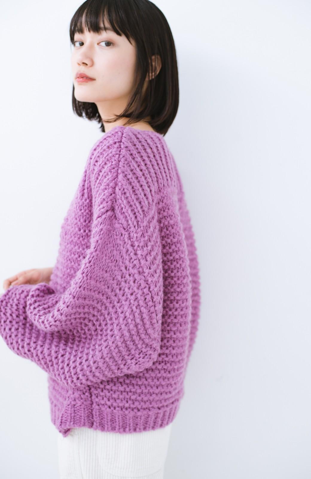 haco! 手編み風ガーター編みがかわいい ざっくり女っぽニット <ピンク>の商品写真11