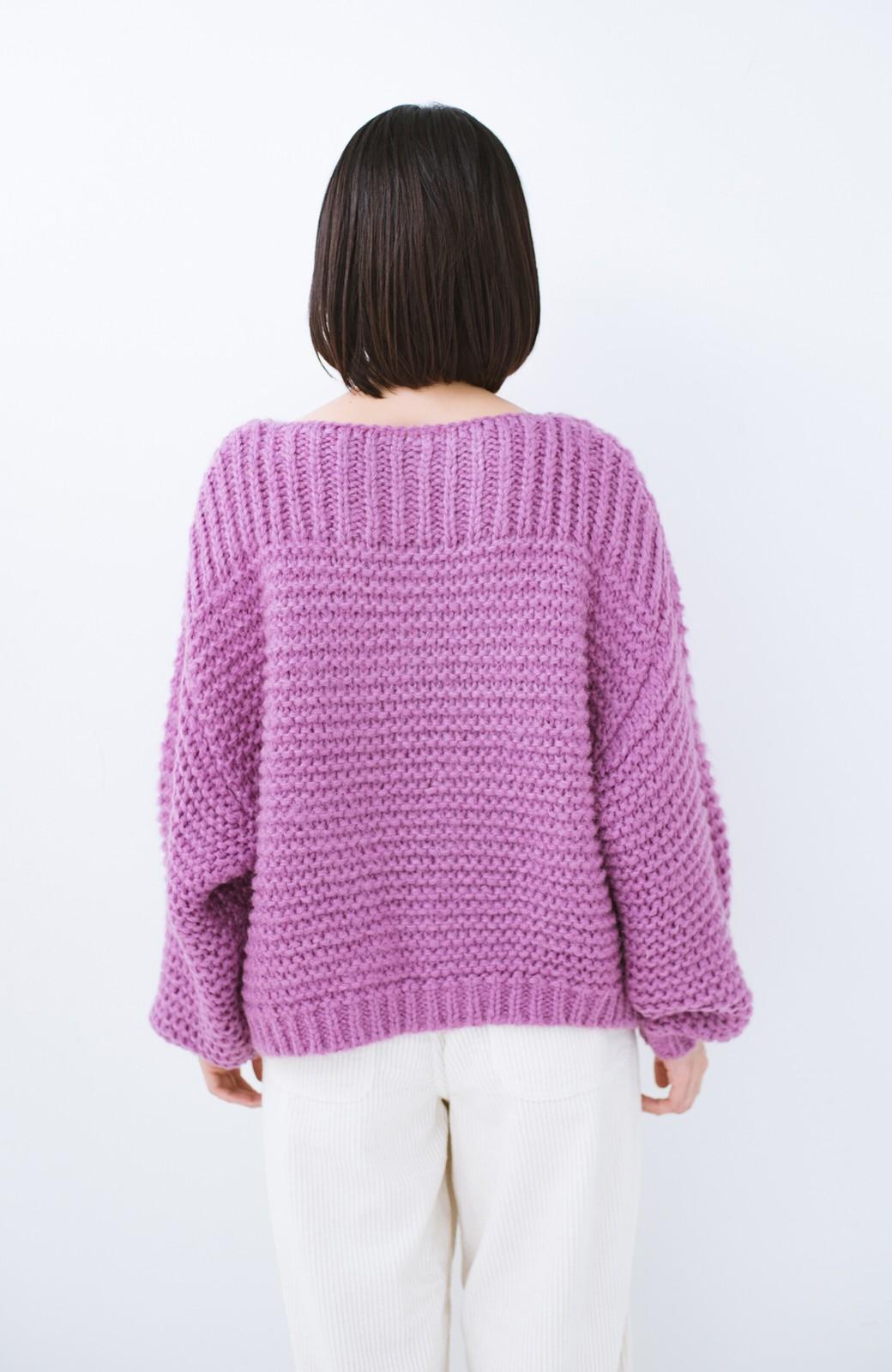 haco! 手編み風ガーター編みがかわいい ざっくり女っぽニット <ピンク>の商品写真12