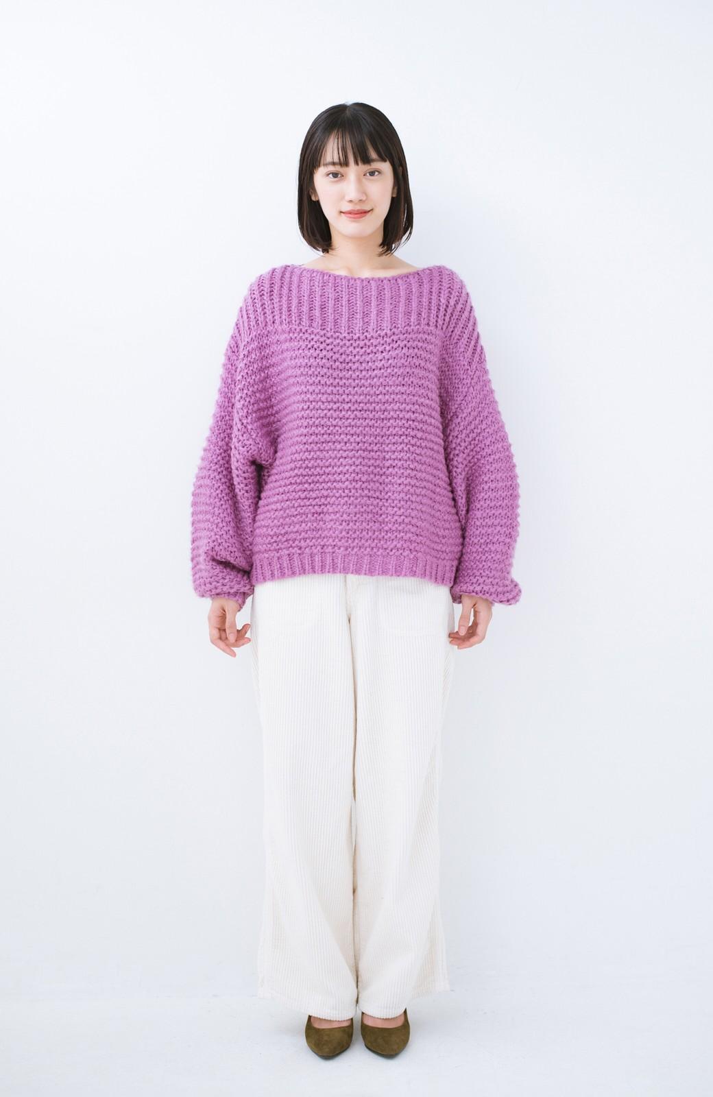 haco! 手編み風ガーター編みがかわいい ざっくり女っぽニット <ピンク>の商品写真6