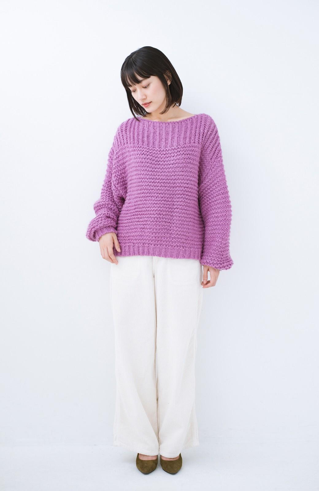 haco! 手編み風ガーター編みがかわいい ざっくり女っぽニット <ピンク>の商品写真7