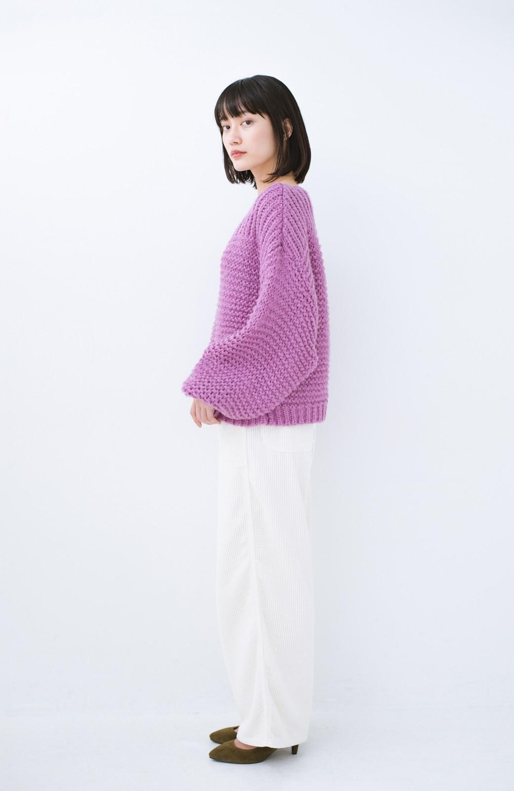 haco! 手編み風ガーター編みがかわいい ざっくり女っぽニット <ピンク>の商品写真8