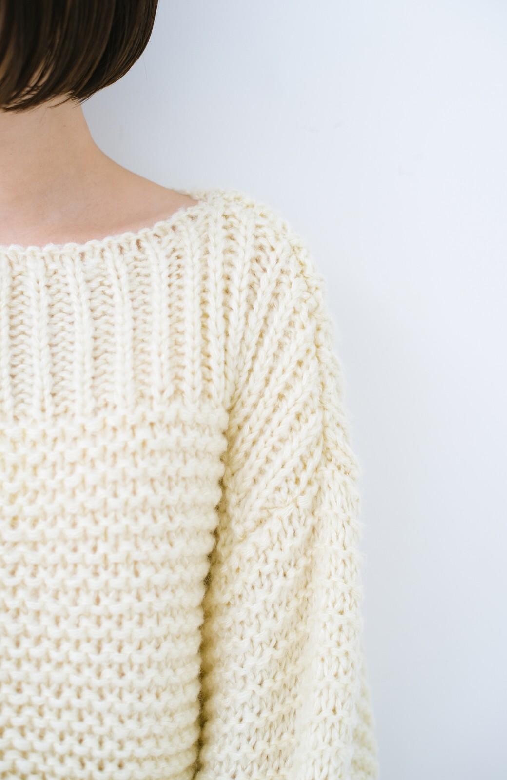 haco! 手編み風ガーター編みがかわいい ざっくり女っぽニット <アイボリー>の商品写真4