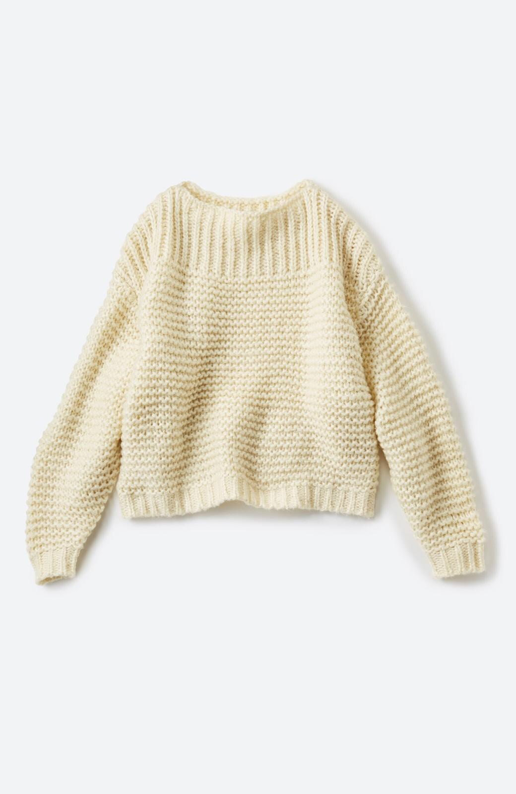 haco! 手編み風ガーター編みがかわいい ざっくり女っぽニット <アイボリー>の商品写真2
