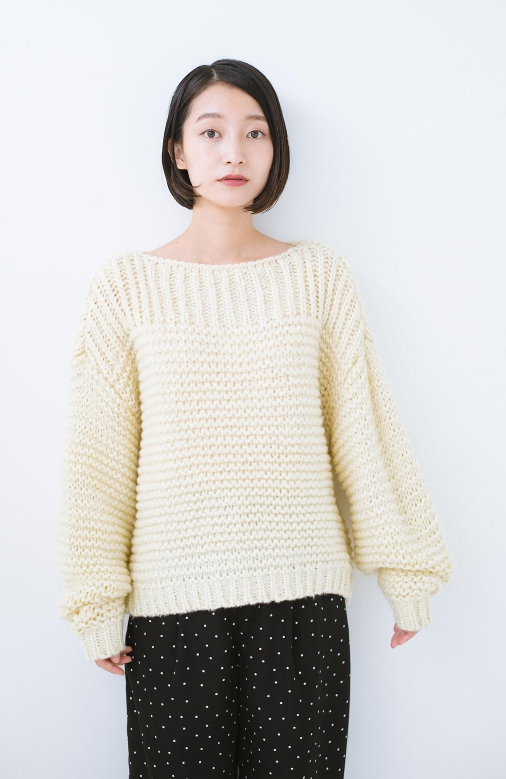 haco! 手編み風ガーター編みがかわいい ざっくり女っぽニット <アイボリー>の商品写真11