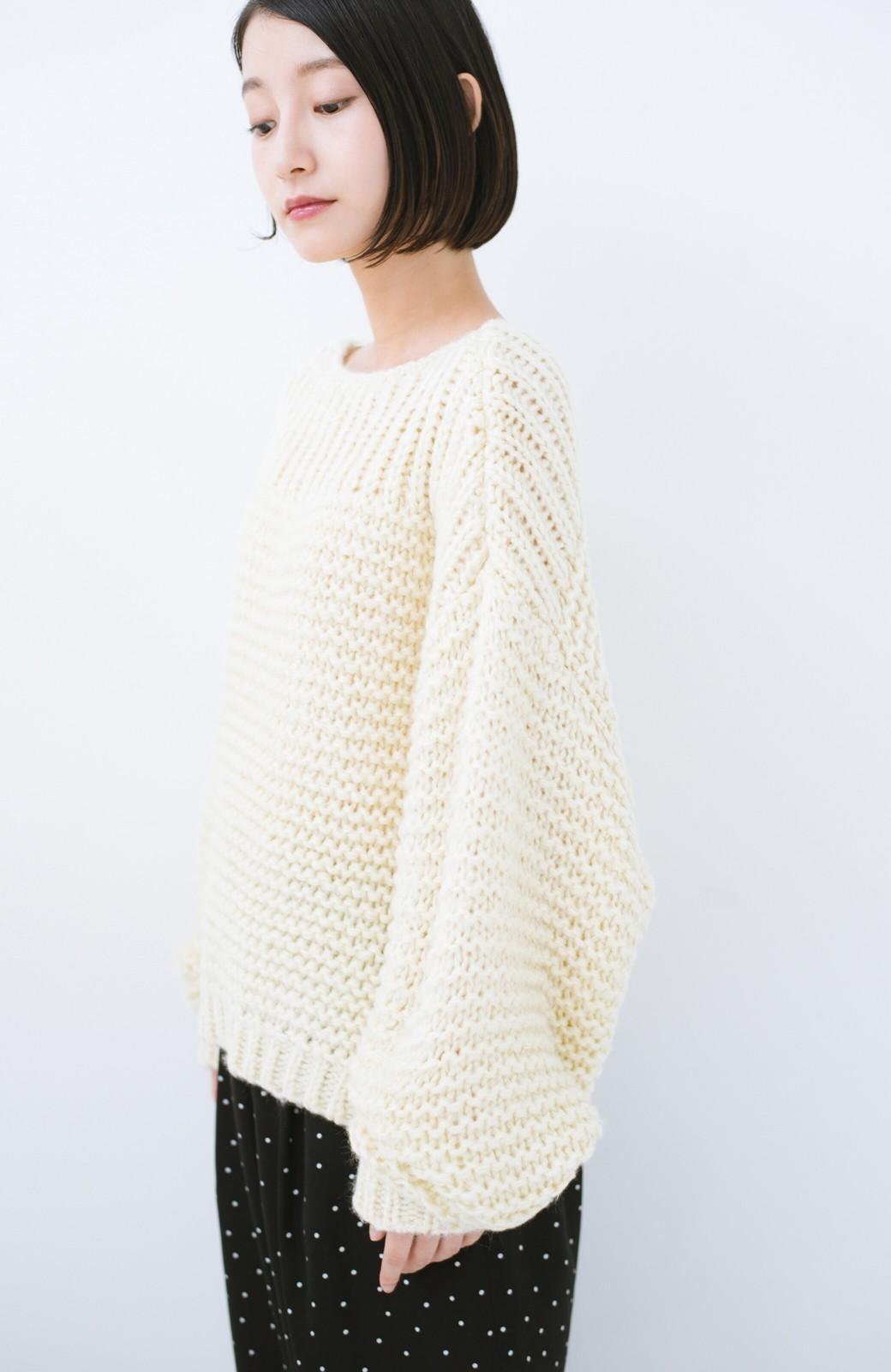 haco! 手編み風ガーター編みがかわいい ざっくり女っぽニット <アイボリー>の商品写真12