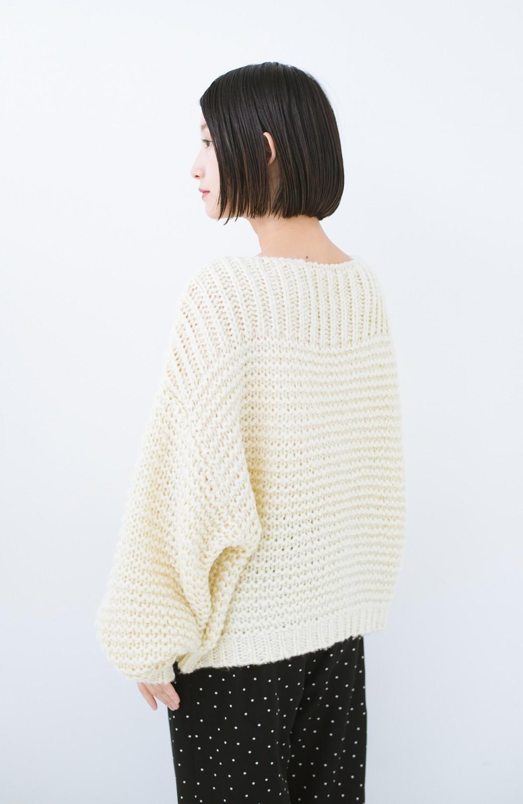 haco! 手編み風ガーター編みがかわいい ざっくり女っぽニット <アイボリー>の商品写真13