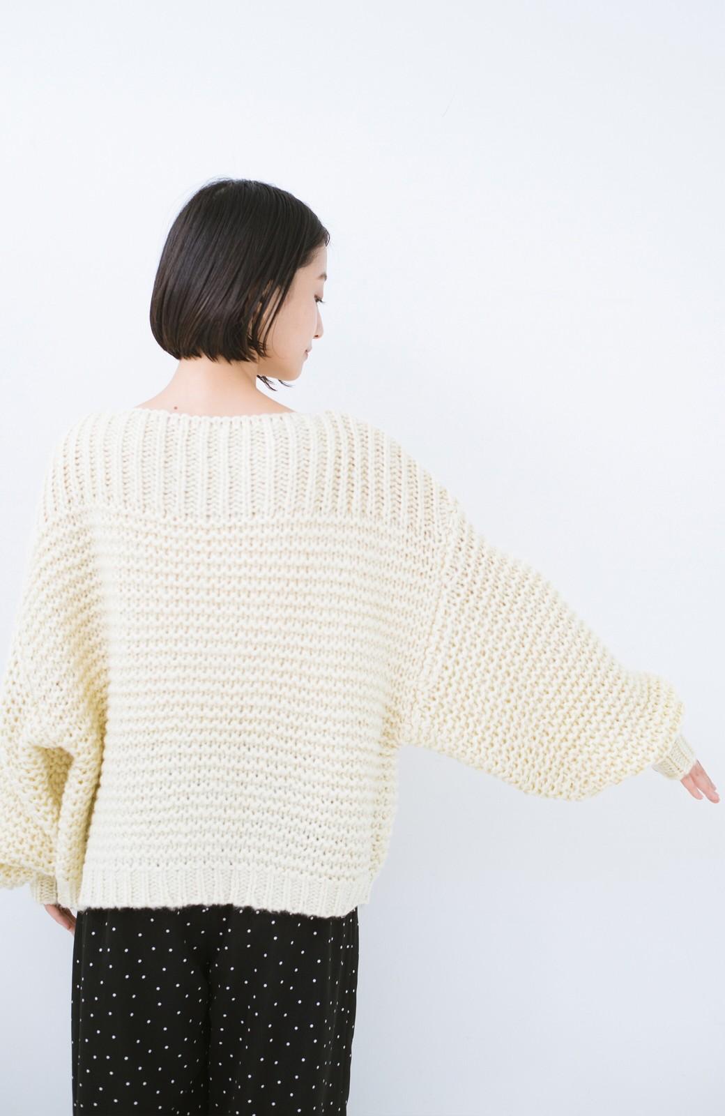 haco! 手編み風ガーター編みがかわいい ざっくり女っぽニット <アイボリー>の商品写真14