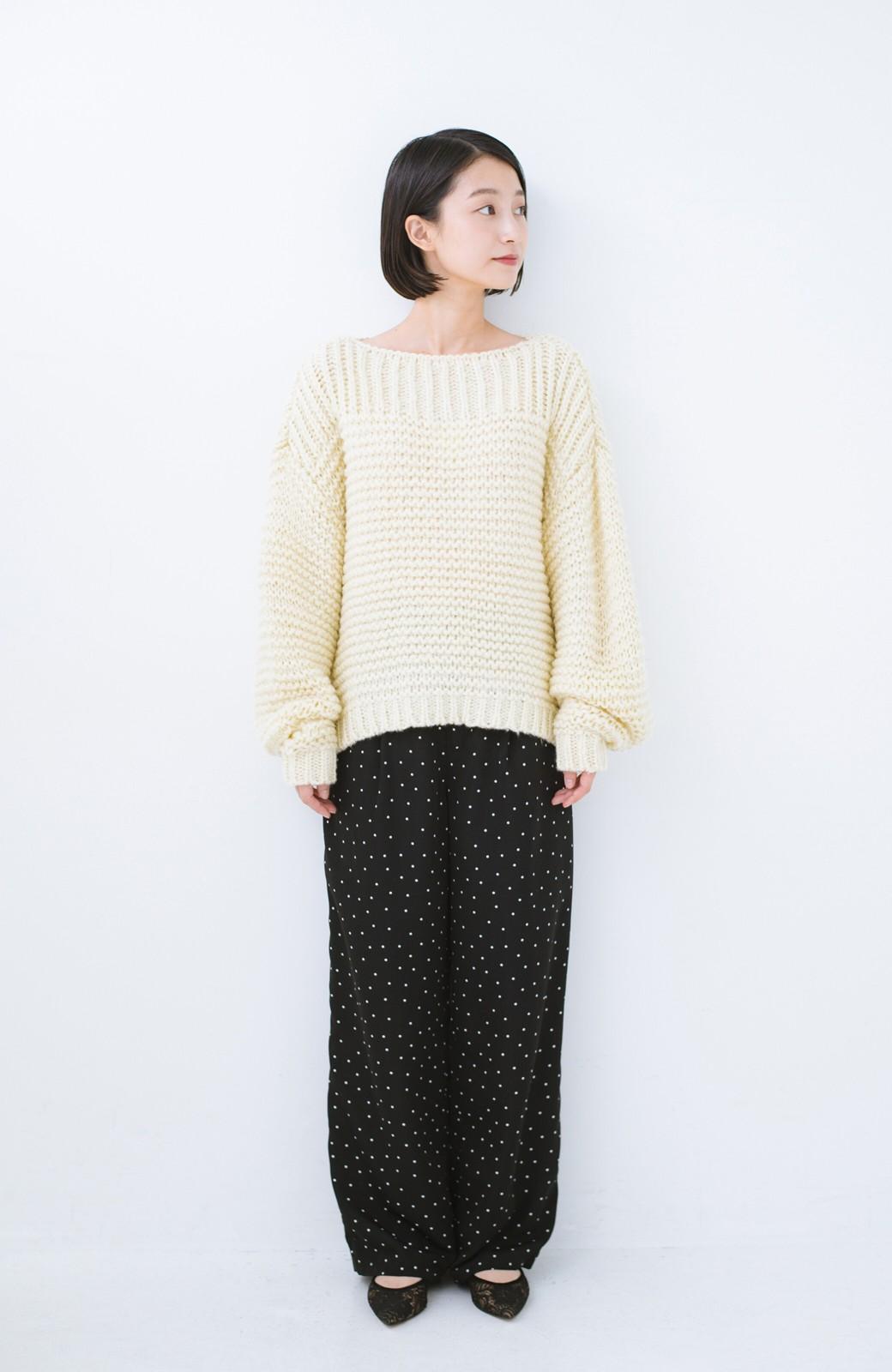haco! 手編み風ガーター編みがかわいい ざっくり女っぽニット <アイボリー>の商品写真8