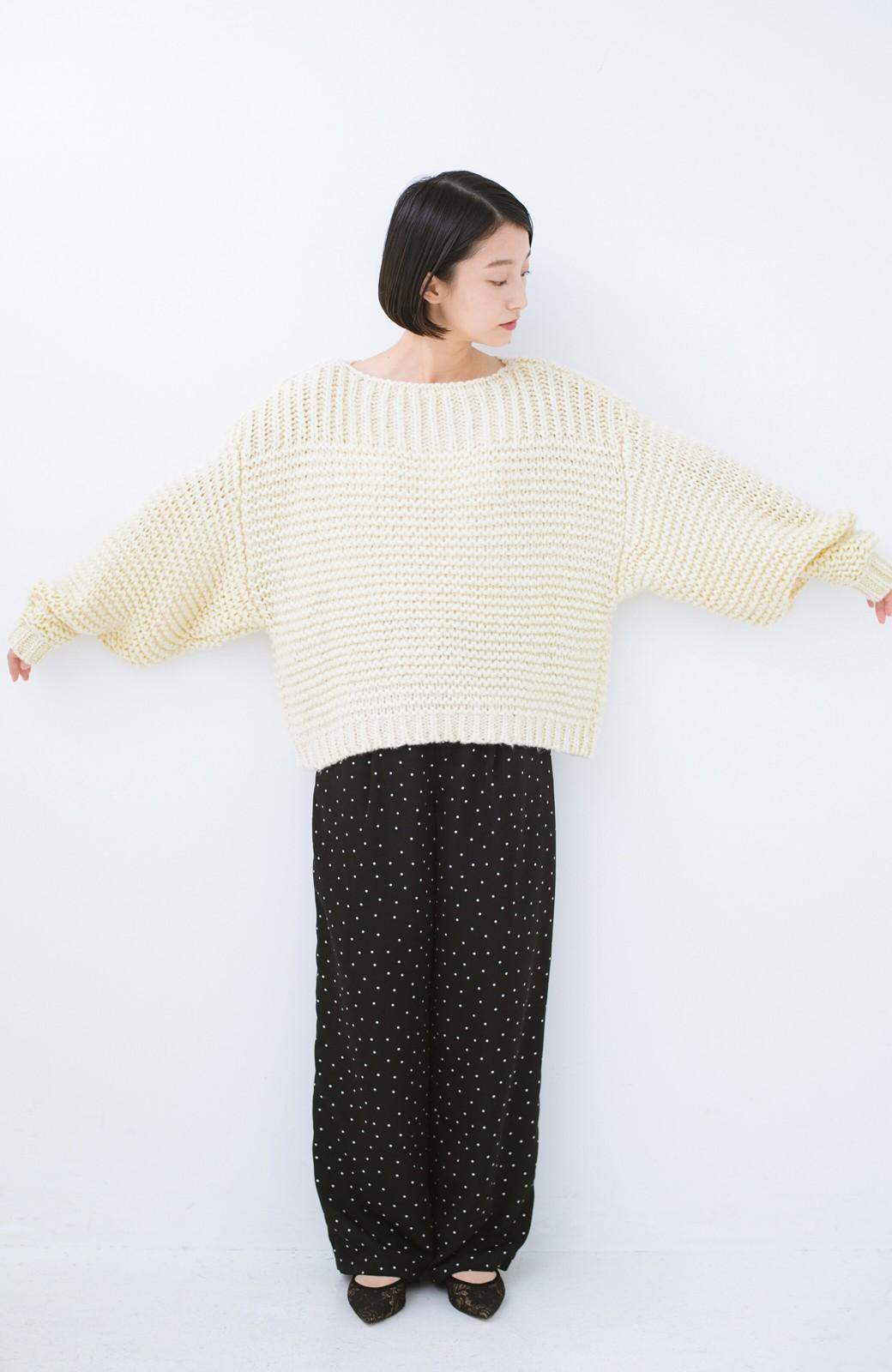 haco! 手編み風ガーター編みがかわいい ざっくり女っぽニット <アイボリー>の商品写真7