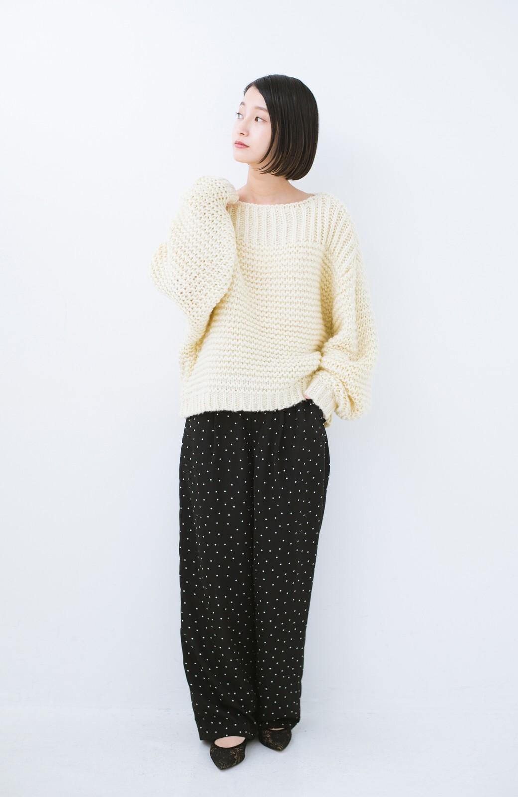 haco! 手編み風ガーター編みがかわいい ざっくり女っぽニット <アイボリー>の商品写真5