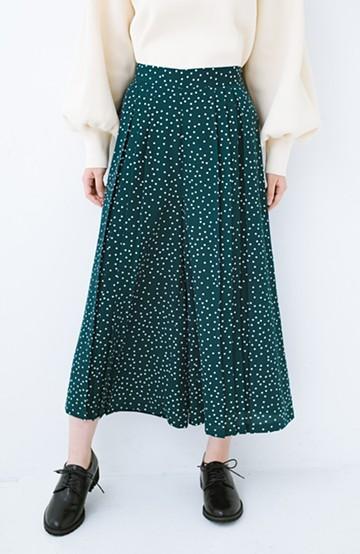 haco! 旬のグリーンカラーを思いっきり楽しむ 総柄プリントプリーツパンツ <グリーン>の商品写真